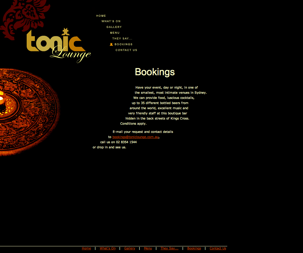 Web Design: Tonic Lounge